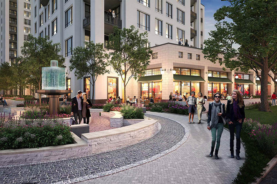 The project includes walkable tree-lined streets, plazas and greenspace with generous set-backs.